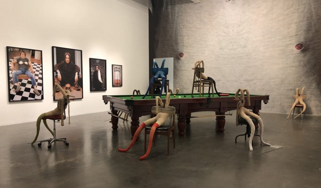 "Installation view of ""Bunny Gets Snookered"" 1997"
